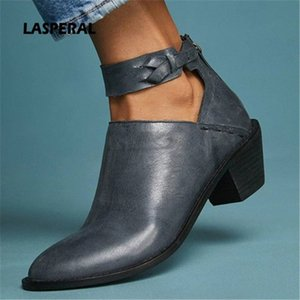 LASPERAL Faux Suede Boots Women Fashion Daily Chunky Heel Zip Shoes Breathable Female Comfortable Shoes Spring PU Leather o5c9#