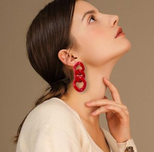 Vintage Fashion Resin Earrings for Women Big Long Geometric Chain Acrylic Drop Earring for Girls Party Simple Jewelry ps1301