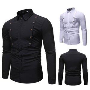 Chemise d'épissure de concepteur de printemps Homme à manches longues Vêtements de revers de manches longues Couleur unie Couleur Simple Bande Tops