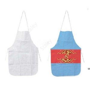 Heat Transfer Kitchen Apron Polyester Home Sublimation Blank Half Length Sleeveless Aprons DIY Creative Gift 70*48CM DAS12