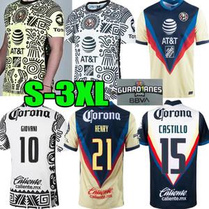 2021 2022 Liga MX Club America Третья желтая футбольная майки 20 21 Club America 3RD Giovani Castillo Футбольная футболка для футболки Futbol Пользовательский S-3XL