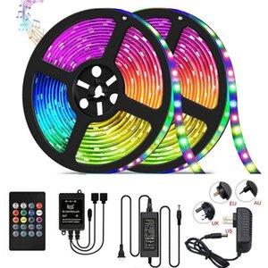 음악 LED 스트립 빛 RGB SMD 5050 다이오드 유연한 리본 5m 10m LED 스트립 전체 세트 원격 제어 음악 LED 제어