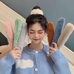Korean imitation rabbit hair pop circle sweet cream hair ring bracelet dual purpose cute versatile headband hairdress