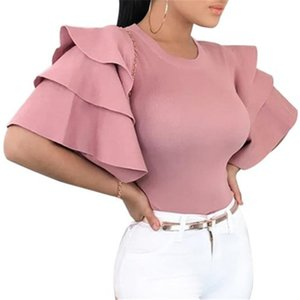 Tshirt da donna con maniche a chiacchierata di chiacchiere da donna TSHIT SLIM FIT O-Neck Tesked Solid Colour Tshirt