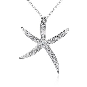 P030 Hot sale free silver plated pendant for gift Stone-studded sea star Pendant Femme Necklaces Pendants Neckless Jewelery