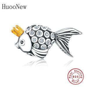 Huoonew Fit Pandora Charms Pulsera 925 Pescado de plata esterlina con color dorado Crown Zirconia Beads Jewelry Berloque Regalo Q0225