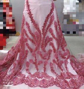 Ribbon Luxury African Lace Fabric Beautiful Handmade Beads Embroidery French Mesh 2021 Latest Nigeria Fabric1