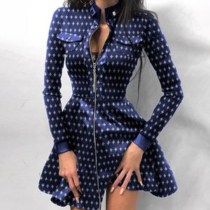 Leather Flare Women's Dress 2021 Houndstooth Print Woman Faux PU Zipper Short Dresses Autumn Elegant Long Sleeve Female Clothing 210222