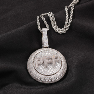 A-Z Custom Name Letters Gold Necklaces Mens Fashion Hip Hop Jewelry Iced Out Rotating Letter Pendant Necklace