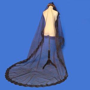 Однослойный черный невеста вуаль длинный свадебный Vail аппликационный кружевной край вуаль свадьба Velo de Novia Largo 3M Veils Bridal
