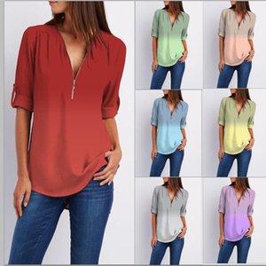 Женские блузки Рубашки Плюс Размер Женщины Шифон Рубашка Топ с длинным рукавом Градиентная печать V-образным вырезом на молнии декор брусе осень элегантный