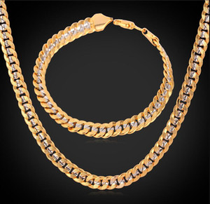 Chain 18K Stamp Men Women 18K Two Tone Gold Plated Curb Chain Necklace Bracelet Set ps1605