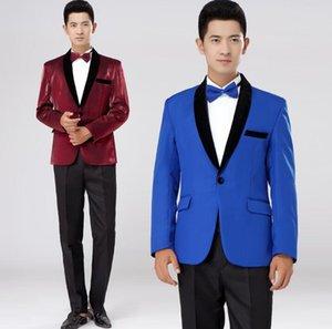 Chorus Mariage Groom Свадебные костюмы для мужчин Blazer Boys Boys Compits Suits Fashion Slim Masculino Последнее пальто Брюки дизайн сценические красные