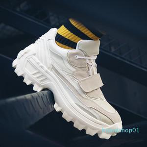Genuine Leather Shoes Men Thick Sole Trendy Chunky Sneakers Flat Platform Casual Shoes Zapatos De Hombre Black Beige d05