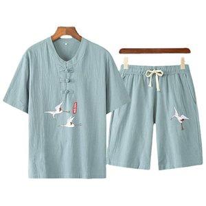 Ensembles pour hommes Vêtements de lin de coton Printemps et été Summer manches courtes Tshirt Deux morceaux Set Style chinois