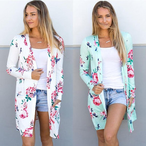 Spring Women Floral Cardigan US Europe Style Top Casual Contrast Long Sleeves Thin Outwear Coat Top Clothing For Sales 2020