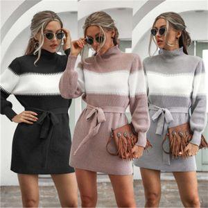 2021Women Lantern Knitting Sweater Fashion Trend Long Sleeve High Neck Short Skirt Designer Female Winter Colorblocked Casual Dress