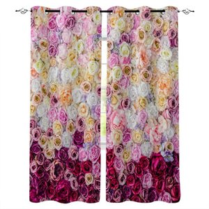 Curtain & Drapes Colorful Rose Flower Home Decor For Living Room Bedroom Door Kitchen Curtains Window Children