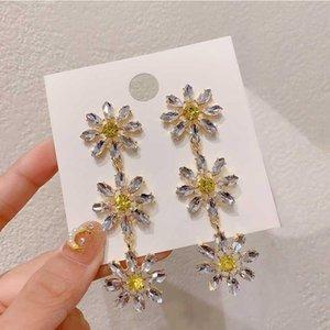 1Pair neuf coréen élégant cristal jaune fleur pétale Tassel goutte boucles d'oreilles pour femmes étudiants fashion fête bijoux cadeaux