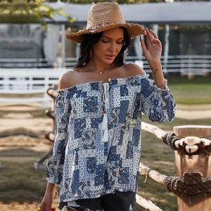 Bohemian Print Blouses Casual Slash Neck Spring Summer Blouse Shirt Top for Women 2021 New Fashion Trvj