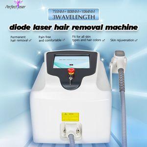 3 longitudes de onda 808nm 755nm 1064nm Removedor de cabello láser diodo sin dolor Máquina de depilación permanente Spa Salon Láser Máquina de belleza
