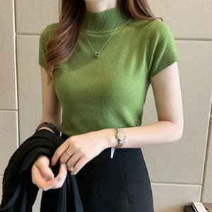 2021 New Spring Autumn Women's T-Shirts Fashion Half Turtleneck Design Short Sleeve Sweater Knit Fabric All-Match Skinny Shirt