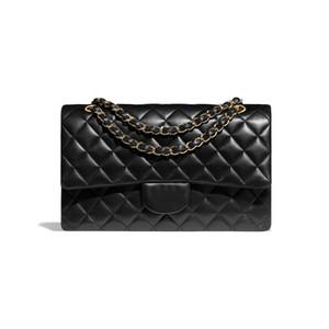 Bolso clásico de Lujos de Lujos de Lujos Bolsos Bolsos de Mujeres Bolsos de Moda Bolsos de Moda919 Diamante Lattice Bolsa de Hombro Negro Cordero Oro - Metal