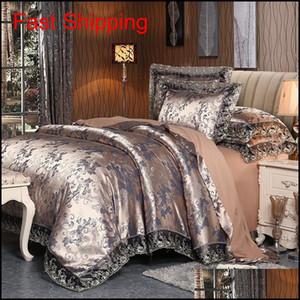 Mecerock 2017 New Euro Style Tencel Jacquard Bedding Set Lace Comforter Cover Blanket Cover Flat Sheet Set Pillowcases Queen Ukow9 Sbpo6