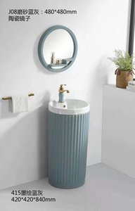 Building Supplies Fixtures children's Bathroom Sinks color pedestal basin with mirror water tap faucet