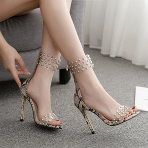 Fashion Womens Shoes 2021 Snakeskin High Heel Sandals Open Toe Luxury High-heeled Stiletto Girls Closed Studded Comfort New
