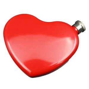 4.4OZ Hip Flask Stainless Steel Portable Painted Wine Bottle Heart Shape Small Hip Flask Whiskey Vodka Bottle LLA410