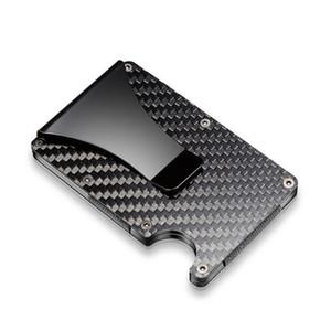 Portable Slim Men's Carbon Fiber Stainless Steel Wallet Clip Carbon Fiber Credit Card Holder Money Clip Purse 51 S2
