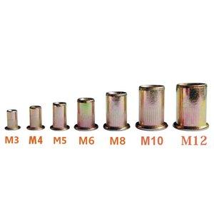 Carbon Steel blind Rivet Nuts threaded insert rivnut M3 M4 M5 M6 M8 M10 M12 Flat Set Hardware Parts