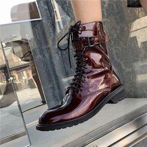 Prova Perfetto Nuovo Genuine Pelle Pelle 2020 Stivali Donne Flat Round Toe Boots Black Stivaletti Belt Fibbia Scarpe Femminile A9DE #