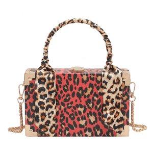Moda Leopardo Silk Scarf Square Caixa de Ombro Mensageiro Bags para Mulheres 2020 Bolsos Para Mujer Bolsas e Handbags C0225