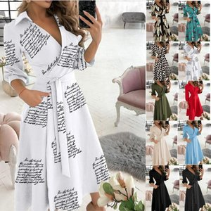 Casual Dresses 2021 Quick Sell Spring And Summer Fashion Long Sleeve V-neck Printing Bag Hip Dress For Women