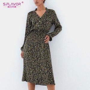 S, Flavor Fashion Leopard Printing Midi Vestido 2021 Moda de primavera Single Button Vestido casual Mujeres V-cuello fiesta Vestidos de