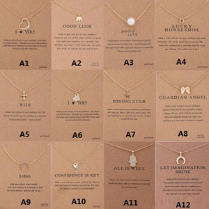 12 Styles New Arrival Dogeared Necklace With Gift Card Elephant Pearl Love Wings Cross Key Zodiac Sign Pendant For Women Fashion Jewelry