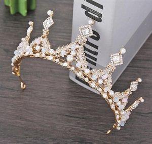Корейский невеста золотой / серебряный ручной работы корона оголовье головы нового сплава тиара хрустальные бусины свадебные аксессуары женские наушники