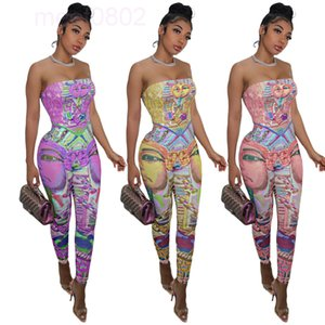 2021 Women Jumpsuit Designer fashion casual cartoon head positioning splicing 3-color Slim sleeveless bra and backless Printed Onesies