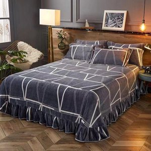 Lace Sheet Luxury Velvet Flannel Fashion Classic Bedding sheet Winter Warm Fleece Printing Bed Full Queen King size