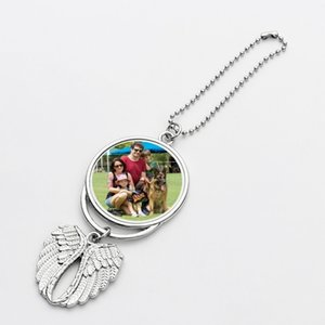 Thermal Transfer Car Ornaments Key Chain Key Ring Sublimation Heat Transfer Angel Wings Pendant Car Interior Angel Wings Decoration H25PH8I