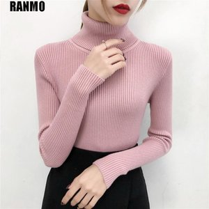 RANMO Brand Knitted Women Turtleneck Sweater Cashmere Autumn Winter Solid Slim Pullovers Highneck Sweaters Warm Female Cheap Top