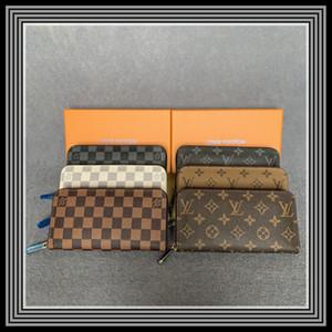 Vente en gros 20 couleurs Fashion Single Fermeture à glissière Hommes Femme Cuir Portefeuille Lady Mesdames Porte-monnaie longue avec carte Orange Box 60017