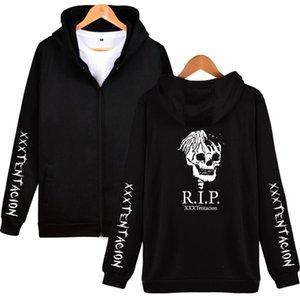 남성용 후드 스웨터 스웨터 XXXTENTACION 지퍼 후드 티 스웻 셔츠 랩퍼 힙합 인쇄 후드 자켓 십대 캐주얼 가을 거리 블랙 Clothin