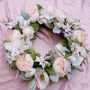 Spring Wreath Artificial Peony Flower Wreath for Front Door, Window, Outdoor, Wedding Decorations