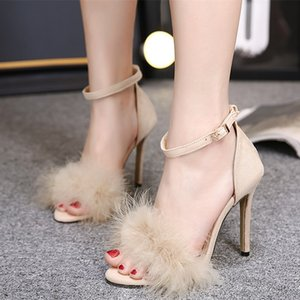 Moda Seksi Yaz Peep Toe Ince Yüksek Topuklu Parti Ayakkabı Kadınlar Için Tüy Stiletto Süet Deri Sandalet Bayanlar Kapak Topuklu Toka Kaliteli Boyutu 35-43 PW095