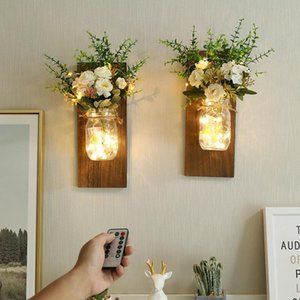 Décor de chambre rose mason jar wall lamp lumières LED lampe wood glass remote control timing battery Luces led copper wire lamp Dry