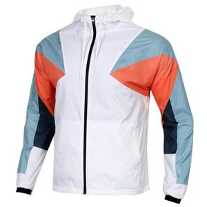 2021 new fashion Designer men's sports knit stitching jacket running fitness windproof outdoor hooded jacket Men's Outerwear Coats Hoodies