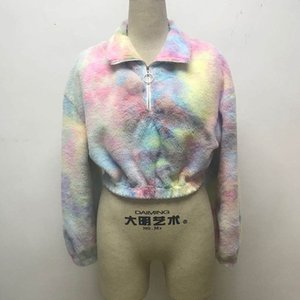 Women's tie dyed Plush contrast coat for autumn and winter 2020BOQM